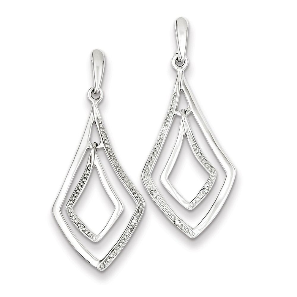 Sterling Silver Rhodium Plated Diamond Post Dangle Earrings. Carat Wt- 0.02ct (1.1IN x 0.5IN )