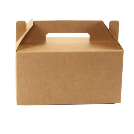 Koyal Wholesale Kraft Gable Boxes with Handle, Twine String Included, 9.5 x 5 x 9-inch, Bulk 10-Pack Count, Food Safe - Wholesale Boxes