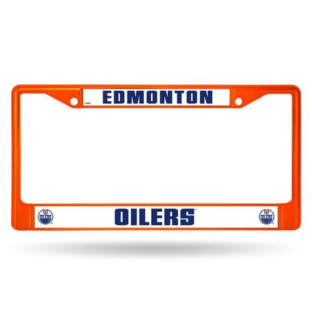 edmonton oilers nhl licensed orange painted chrome metal license plate -