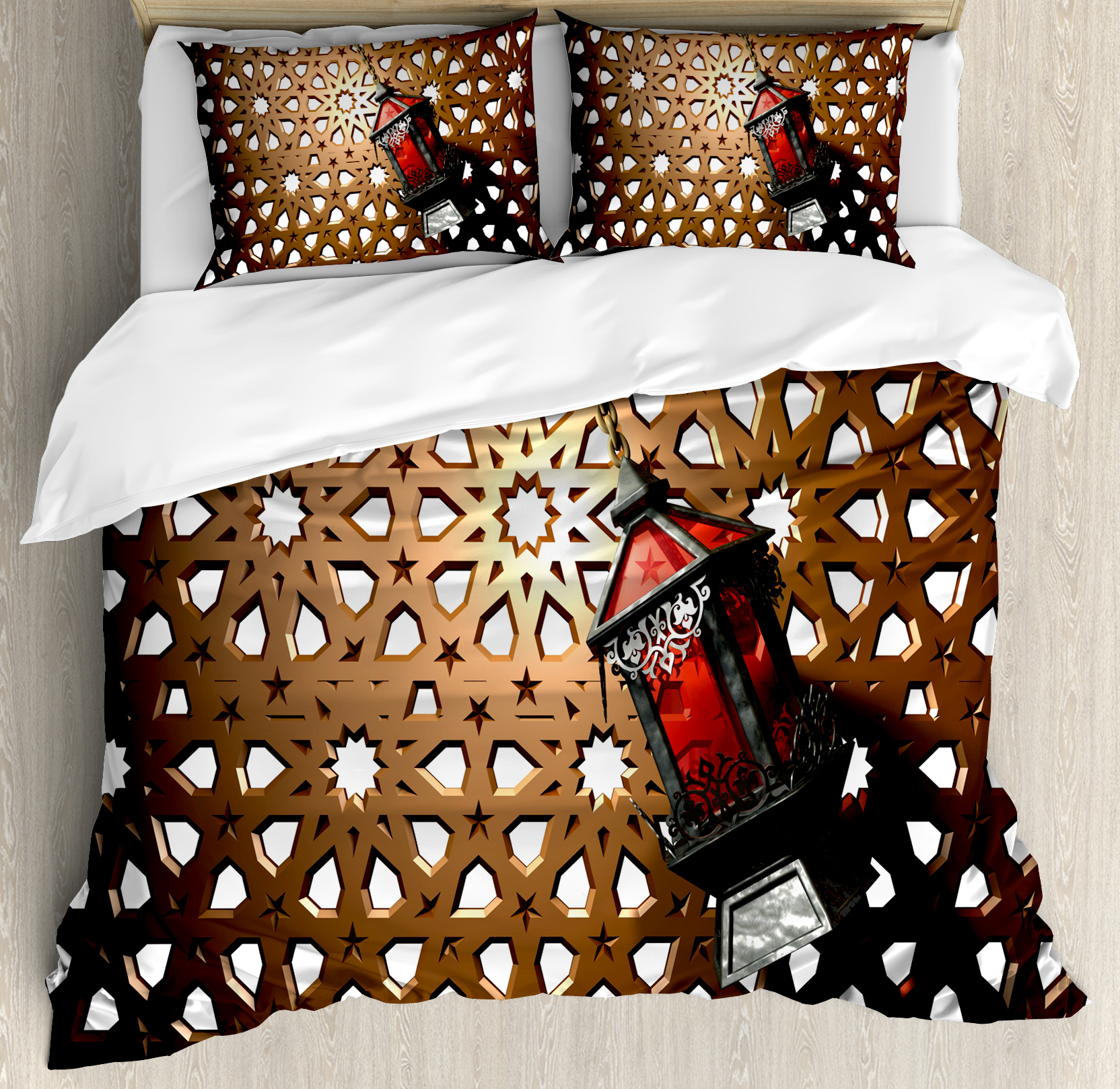 Lantern Queen Size Duvet Cover Set, Egyptian Fanoos in a 3D Illustration of... from Ramadan Decorations