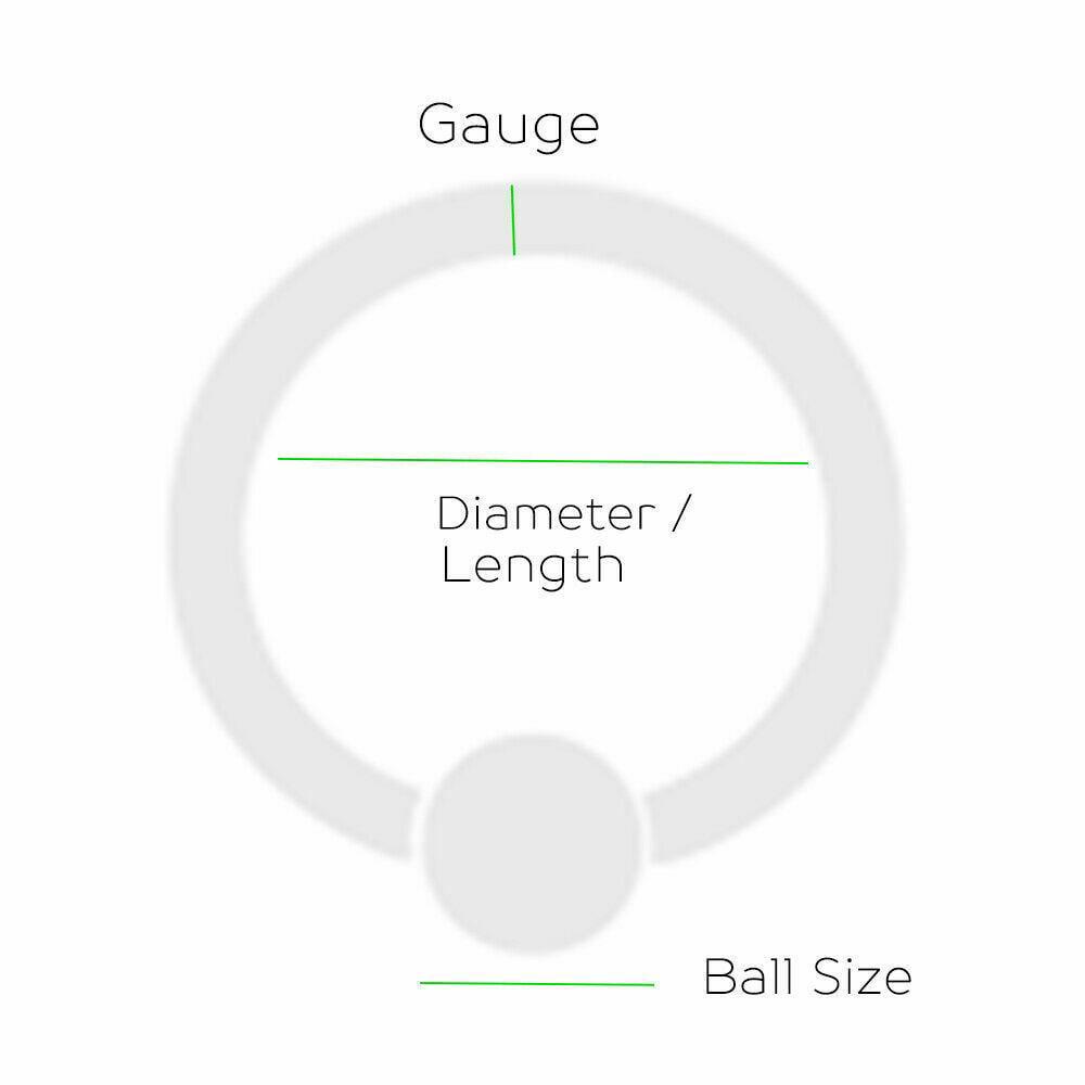 "2 Black Black Captive Bead Rings 4g 5//8/"" Diameter"