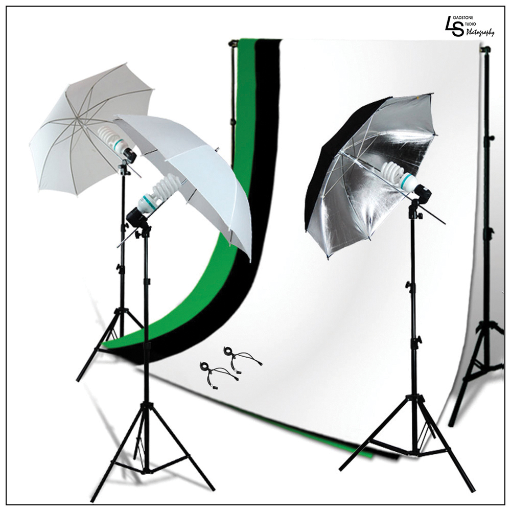 Triple Color Backdrop Support Stand Lighting Kit with Umbrella Lights and Muslin for Photography Videography by Loadstone Studio WMLS0938