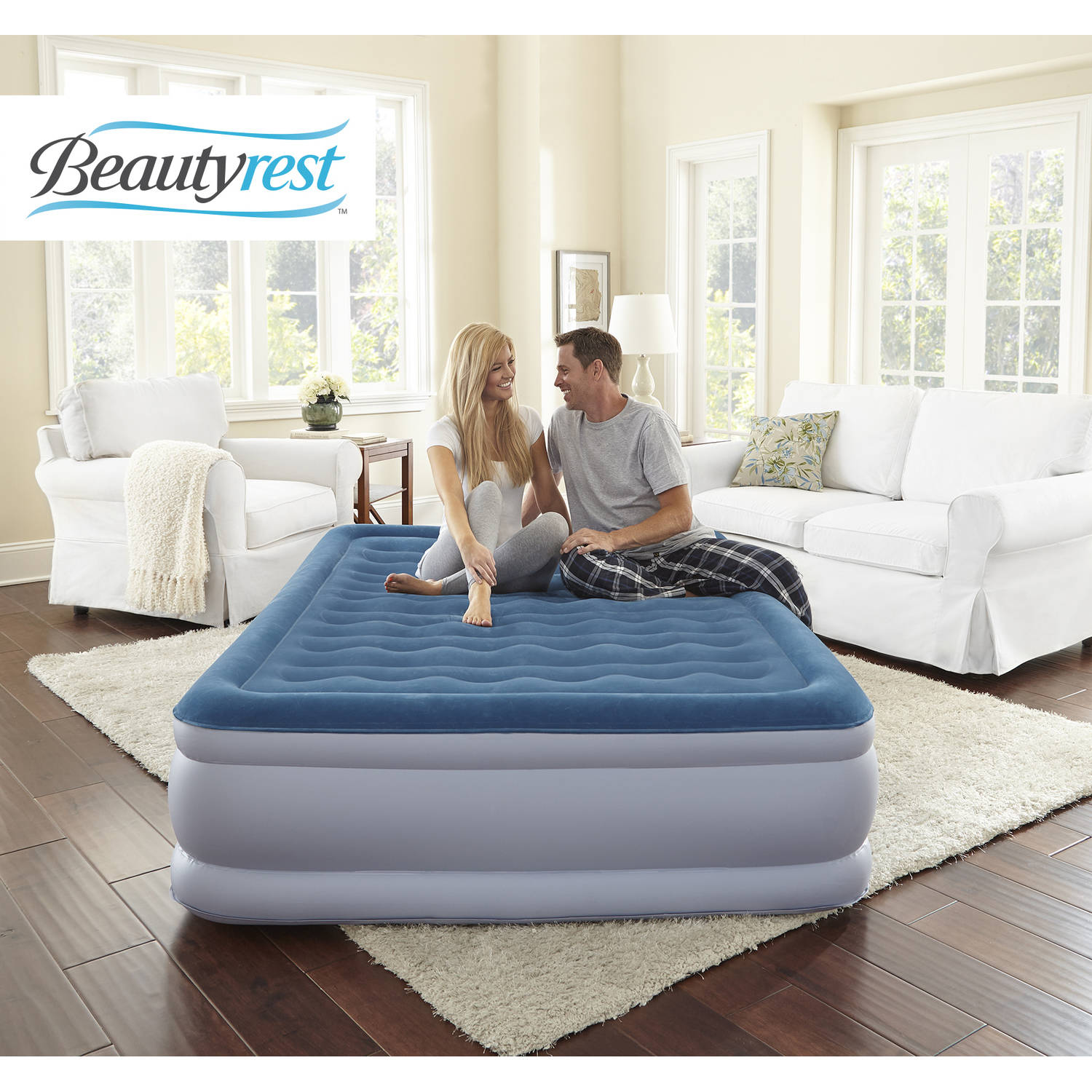 simmons beautyrest extraordinaire raised air bed mattress with iflex support and built in pump multiple sizes walmartcom