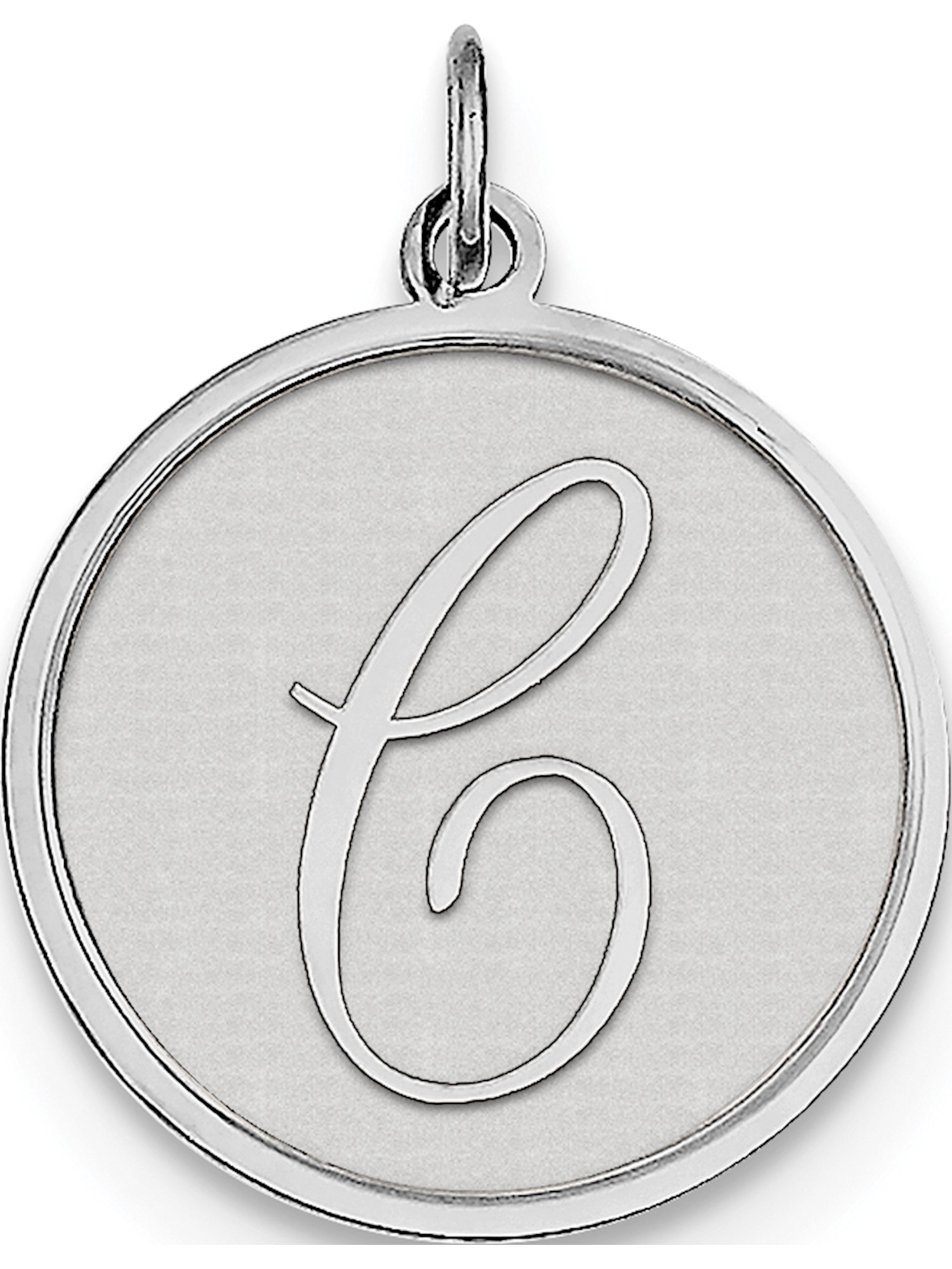 Sterling Silver Brocaded Initial C Charm