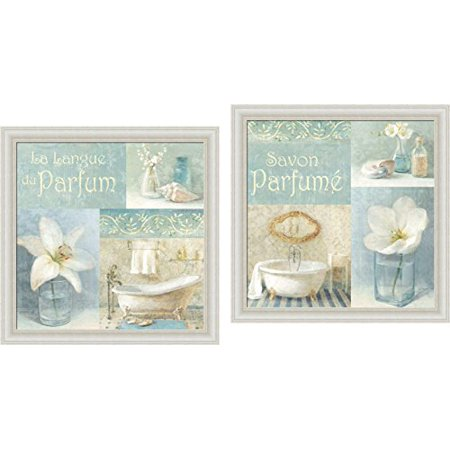 FRAMED SET Parfum I and II by Danhui Nai 12x12 Wall Art Print Poster Blue Bath Bathroom Coastal Shells White Poppy &