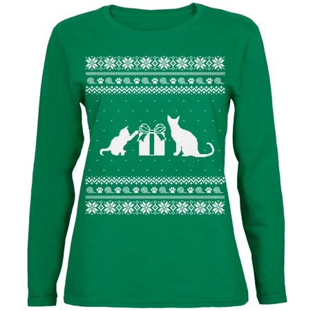 Cats Ugly Christmas Sweater Green Womens Long Sleeve T-Shirt