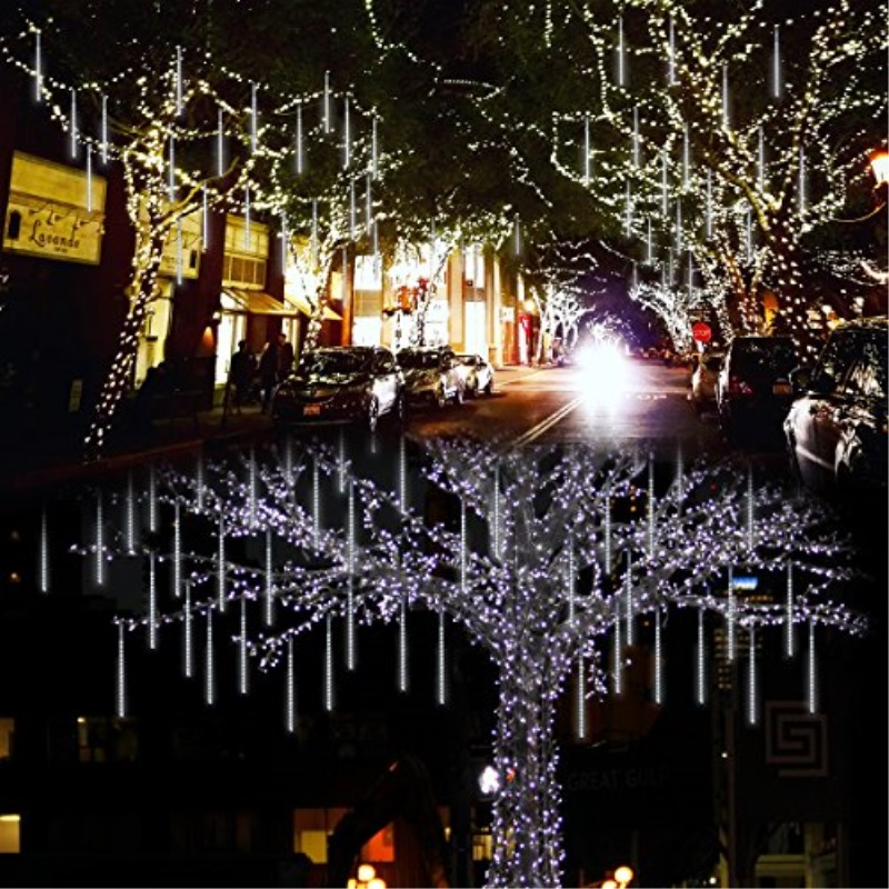 Lalapao Outdoor Christmas String Lights Solar Powered LED Meteor Shower  Rain Lights Xmas Falling Raindrop Light 8 Tubes 288 LED Cascading Fairy  Lights ...