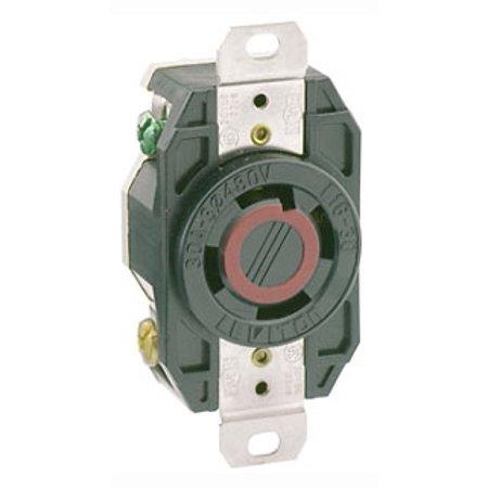 Flush Outlet - Leviton 2730 30 Amp, 480 Volt- 3PY, Flush Mounting Locking Receptacle, Industrial Grade, Grounding, V-0-MAX, Black