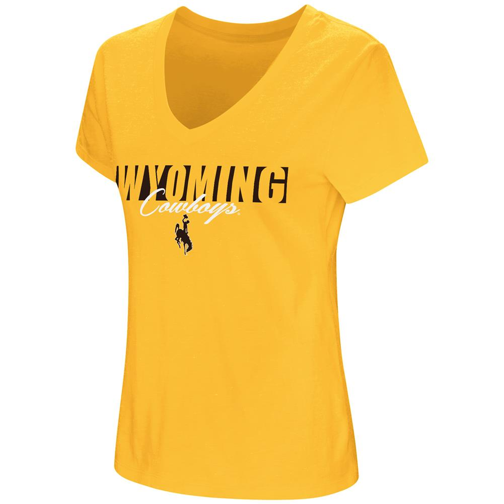 University of Wyoming Cowboys Women's T-Shirt V-Neck Short Sleeve Tee by Colosseum
