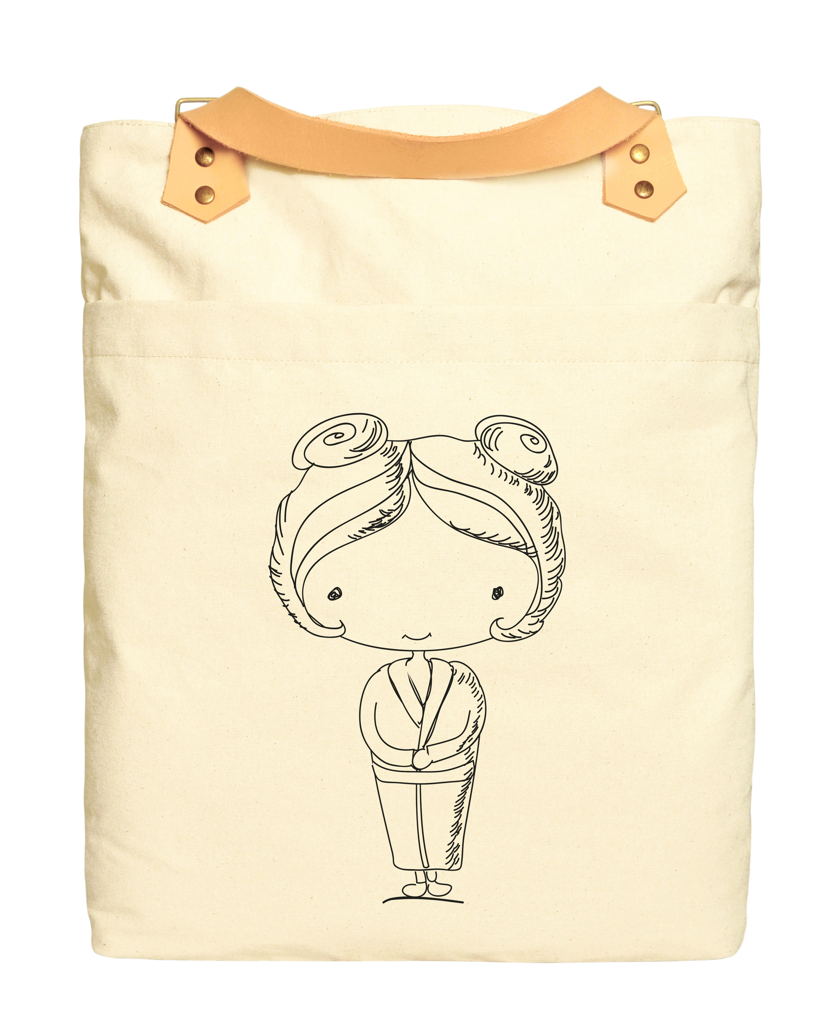 Drawings of Children 3 Print 100% Cotton Canvas Leather Straps Backpack WAS_34 by Vietsbay