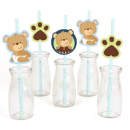 Baby Boy Teddy Bear - Paper Straw Decor - Baby Shower  Striped Decorative Straws - Set of 24 (Baby Shower Decor)