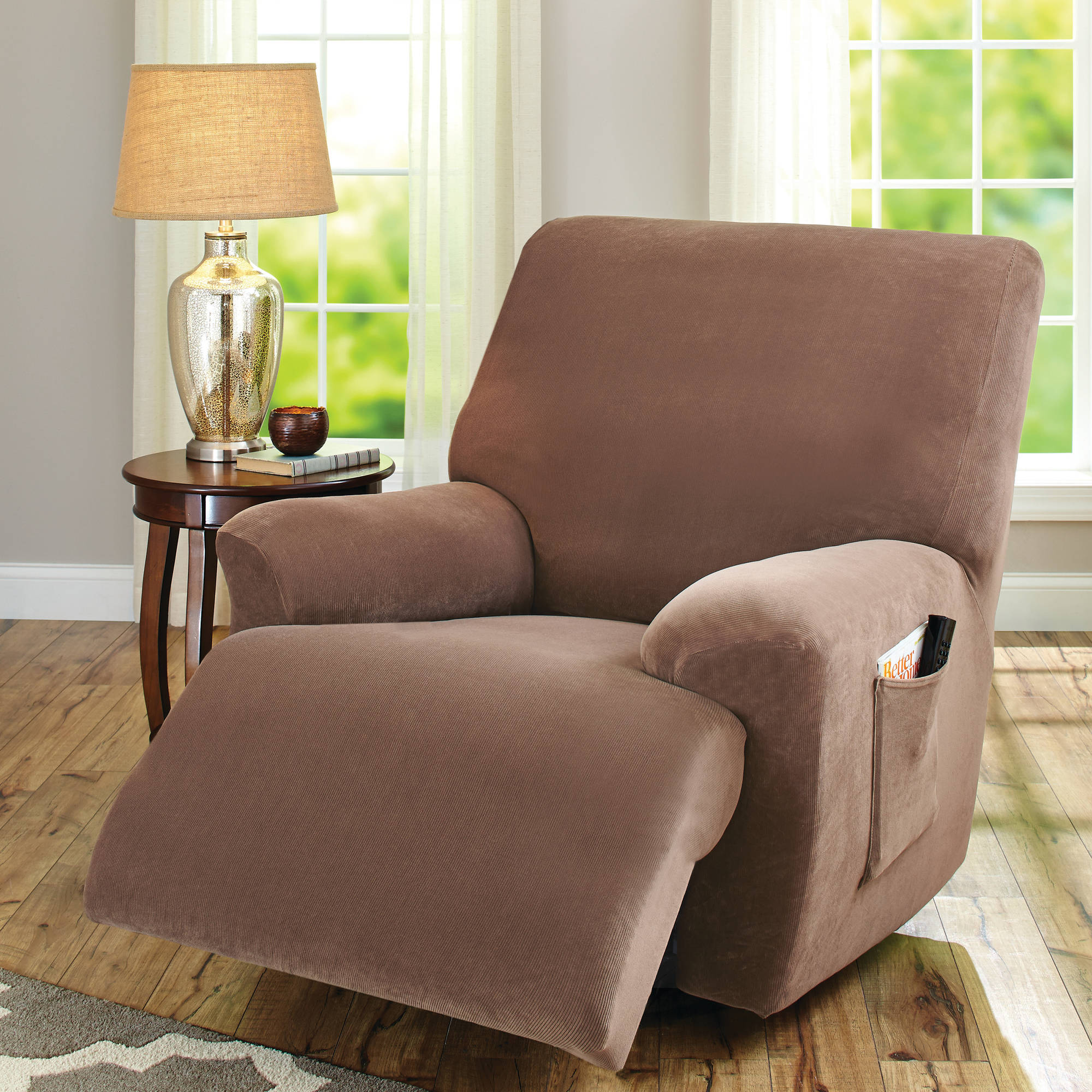 Better Homes and Gardens One-Piece Stretch Fine Corduroy Recliner Slipcover by