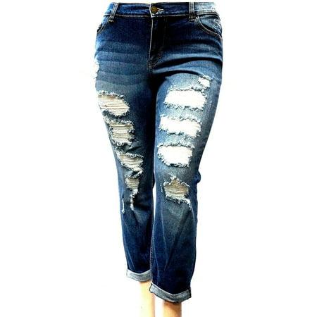 cac8be31bcd Sneak Peek - Sneak Peek WOMENS PLUS SIZE Sexy Boyfriend Denim Jeans Ripped  Distressed strech pants - Walmart.com