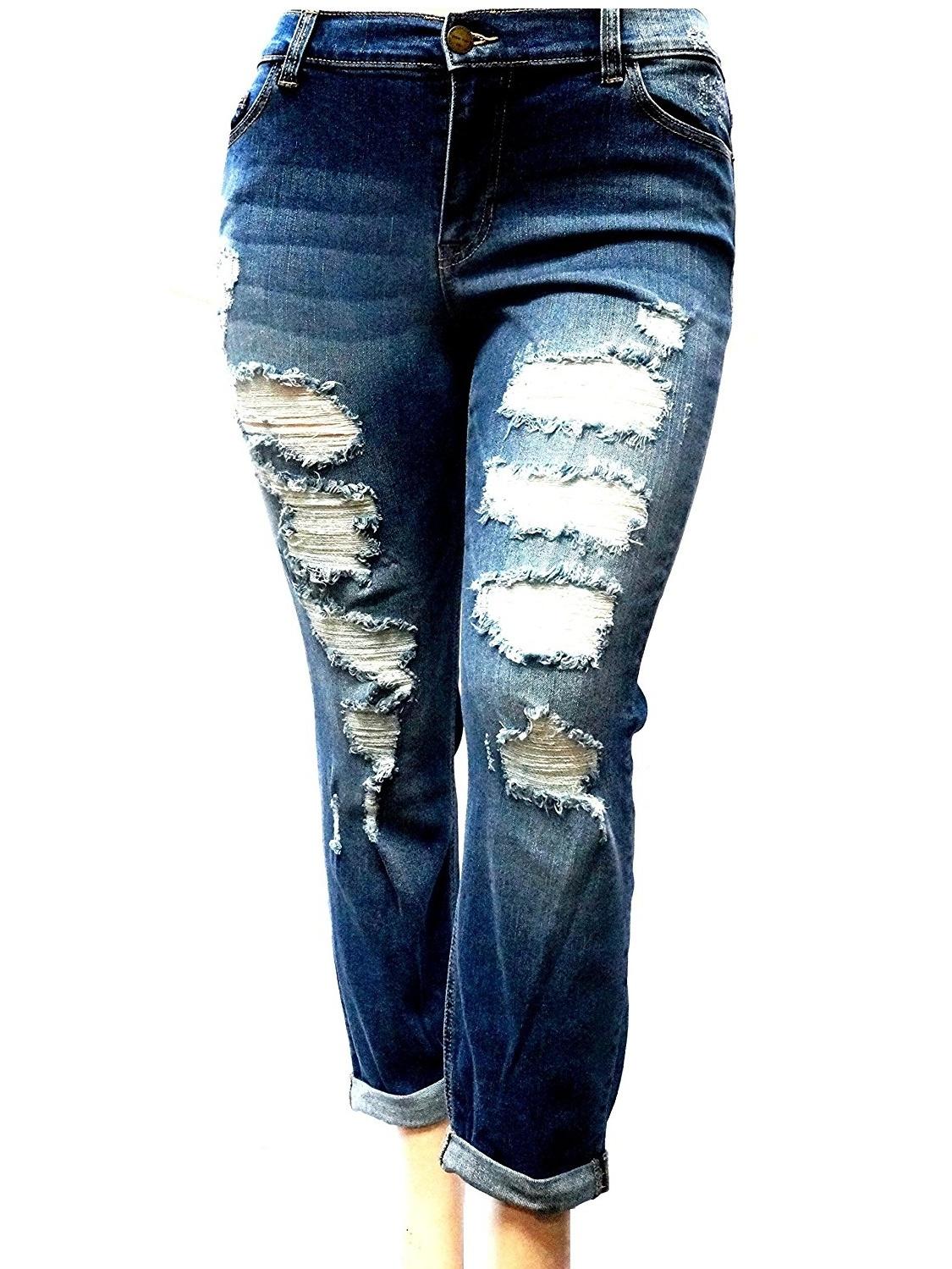 Sneak Peek WOMENS PLUS SIZE Sexy Boyfriend Denim Jeans Ripped Distressed strech pants