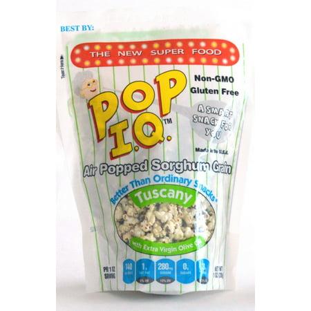 Pop I.Q. â?? The Best Healthy Snack â?? Organic Air Popped Sorghum Grain, Tuscany Flavor w/Extra Virgin Olive Oil â?? non-GMO, Vegan, Gluten-Free (Pack of 12 Single