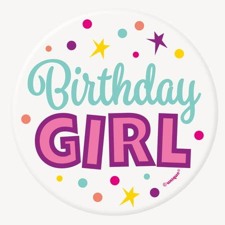 Birthday Girl Button, 1ct
