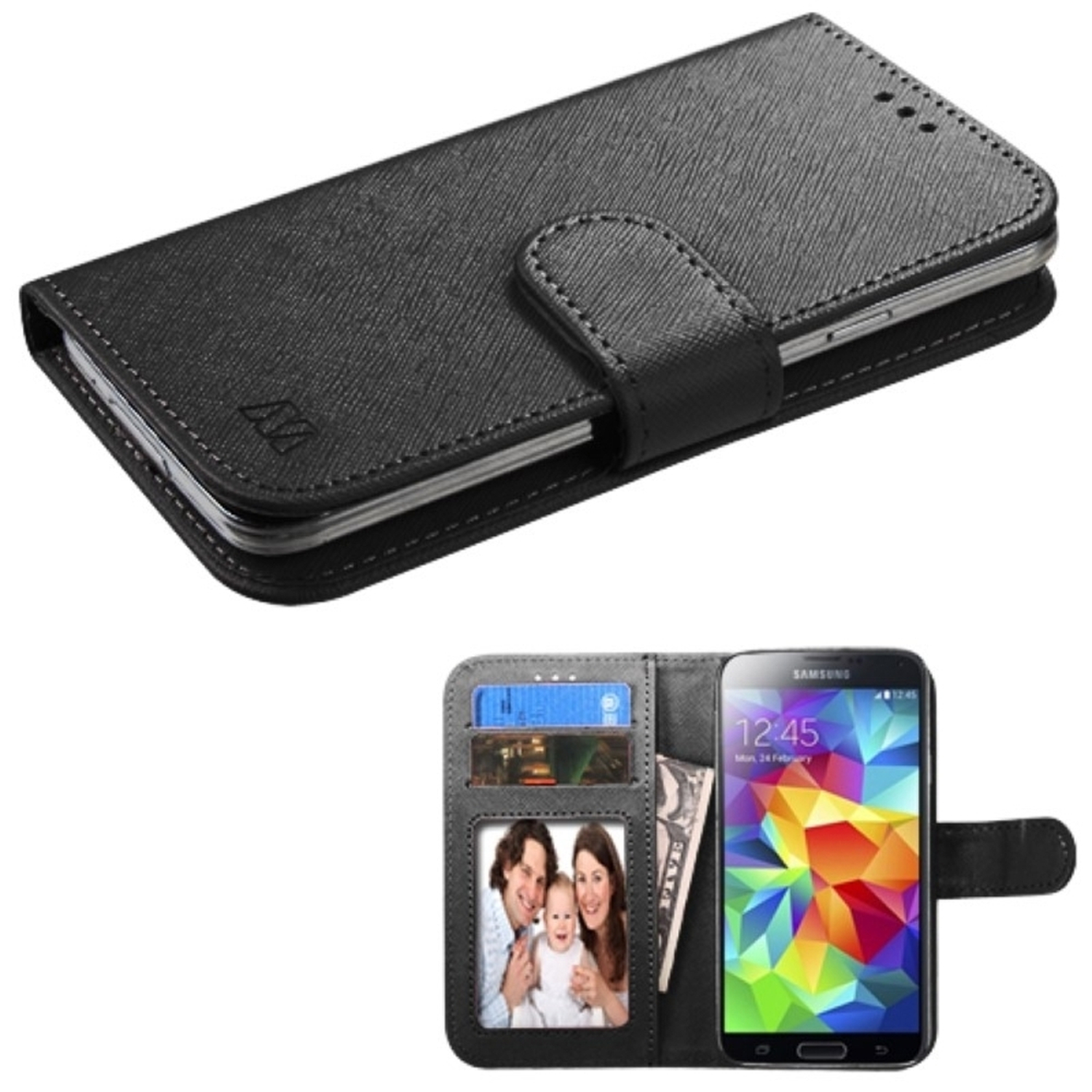 Insten Black Leather Wallet Case For iPhone SE 5 5C 5S/iPod Touch 6th 5th/Samsung J1 Galaxy Core Prime Amp 2/ZTE Maven Overture 2 Fanfare Obsidian Scend Savvy / LG Optimus Zone 3 Leon Sunset Universal