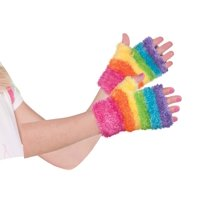 Rainbow Fairy Girls Child Fuzzy Costume Unicorn Rave Monster Glovelettes
