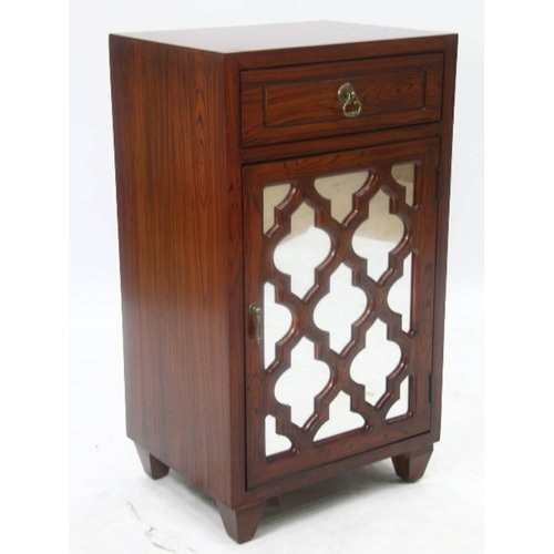 Heather Ann Creations Aria 1 Drawer 1 Door Arabesque Mirror Accent Cabinet