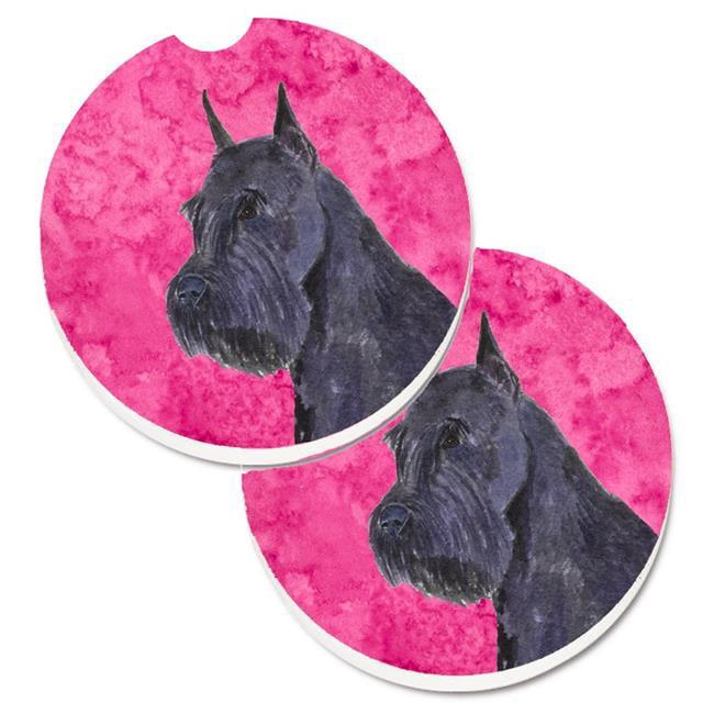 Carolines Treasures SS4799-PKCARC Pink Schnauzer Set of 2 Cup Holder Car Coaster - image 1 de 1