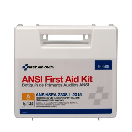 First Aid Textbook - First Aid Only 25 Person ANSI First Aid Kit, Plastic, 89 Pc
