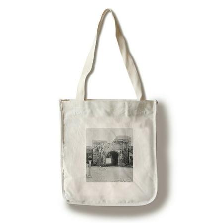 Party Store Charleston Sc (Charleston, SC - Ft. Moultrie Entrance Civil War Photograph (100% Cotton Tote Bag -)