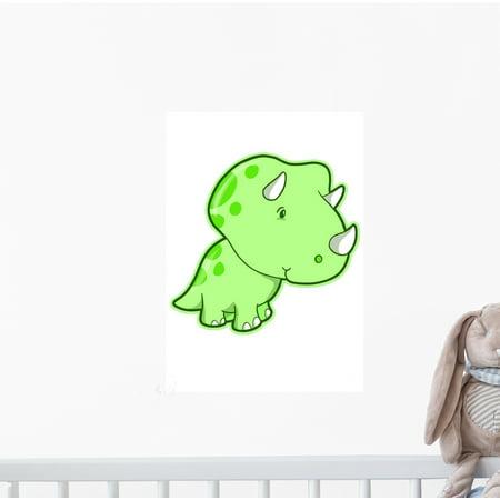 Cutie Triceratops Green Dino Wall Decal Sticker, Wallmonkeys Peel & Stick Vinyl Graphic (12 in H x 8 in W
