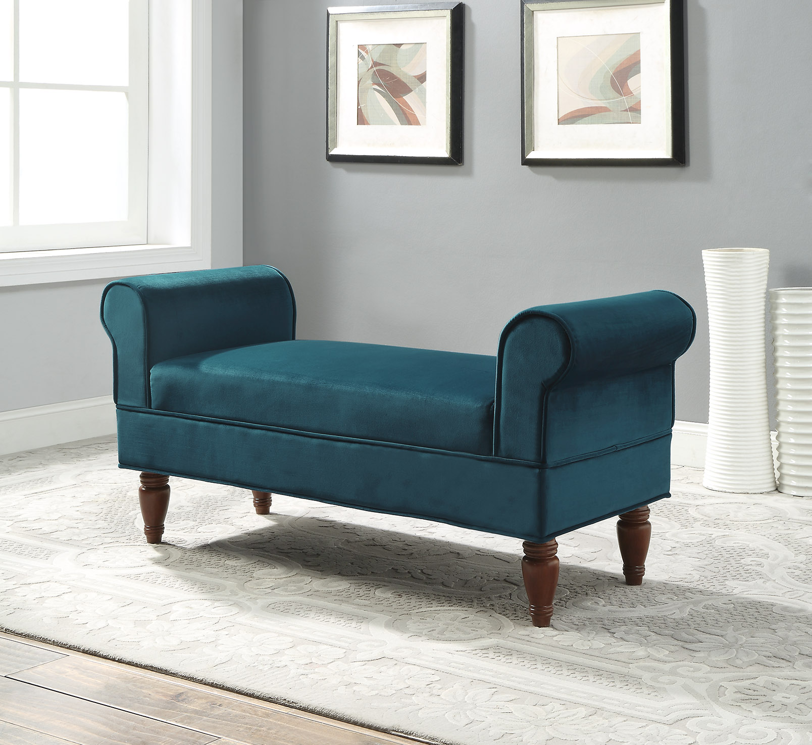 Linon Lillian Rolled Arm Upholstered Bench, Multiple Colors