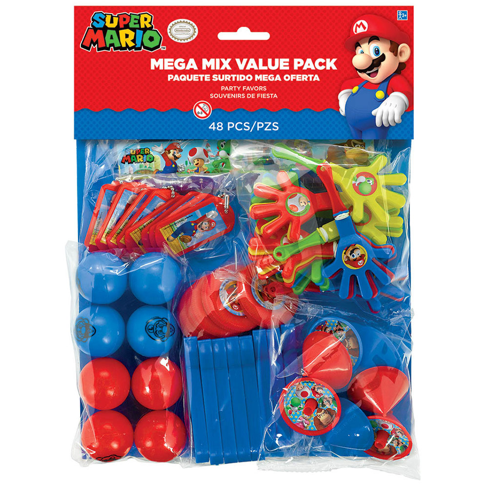 Super Mario 48 Pc Mega Mix Value Pack Favors - Party Supplies