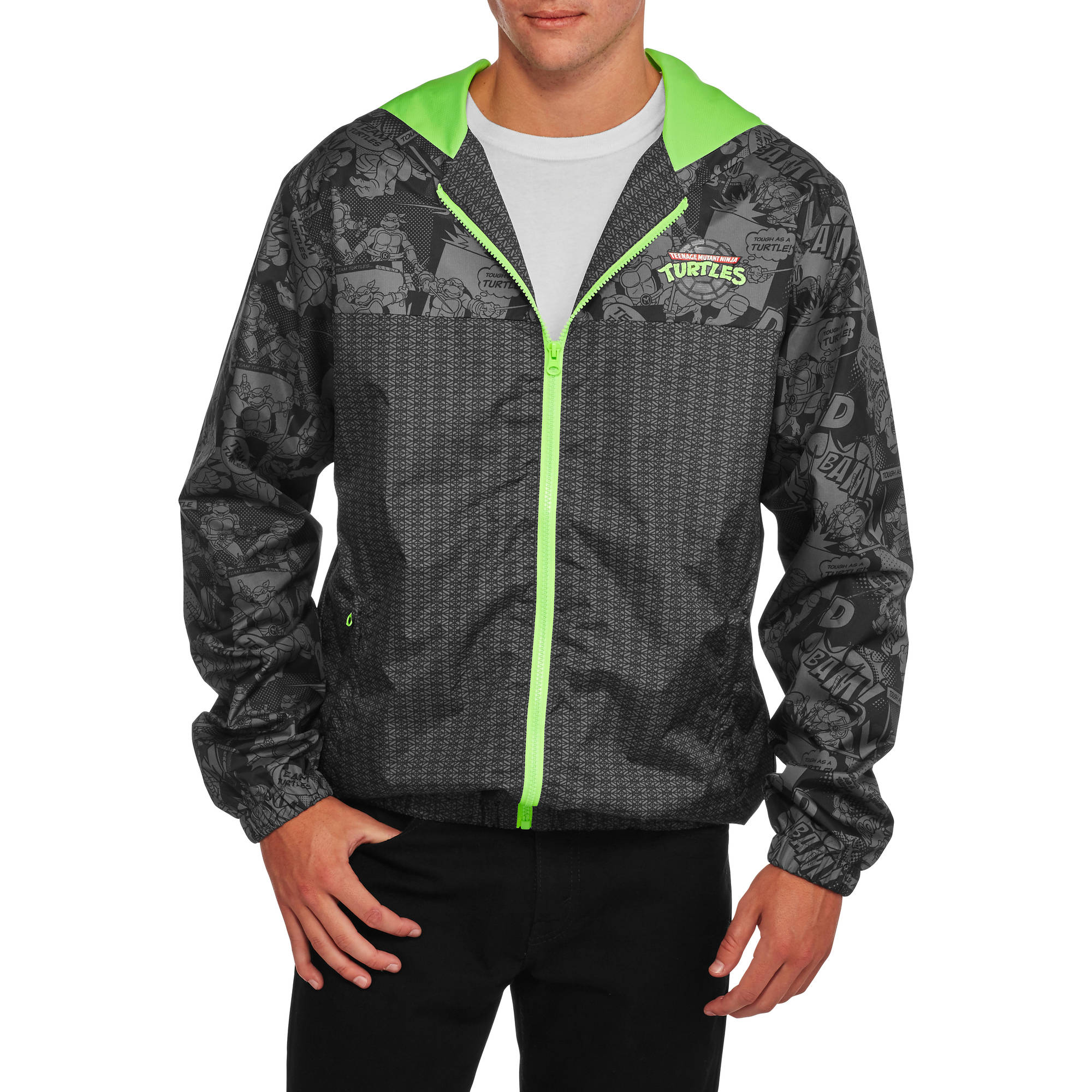 Teenage Mutant Ninja Turtles Big Men's Light Weight Full Zip Hoodie, 2XL