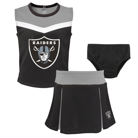 Tomb Raider Outfits (Oakland Raiders Girls Preschool Two-Piece Spirit Cheer Cheerleader Set With Bloomers -)