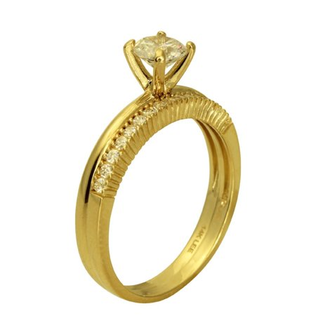 - 1.00 Ct 14K Real Yellow Gold Round Cut Classic 4 Prong Cathedral Setting with Round Pave Set Side Stones Engagement Wedding Propose Promise Ring with Matching Band Duo 2 Ring Set