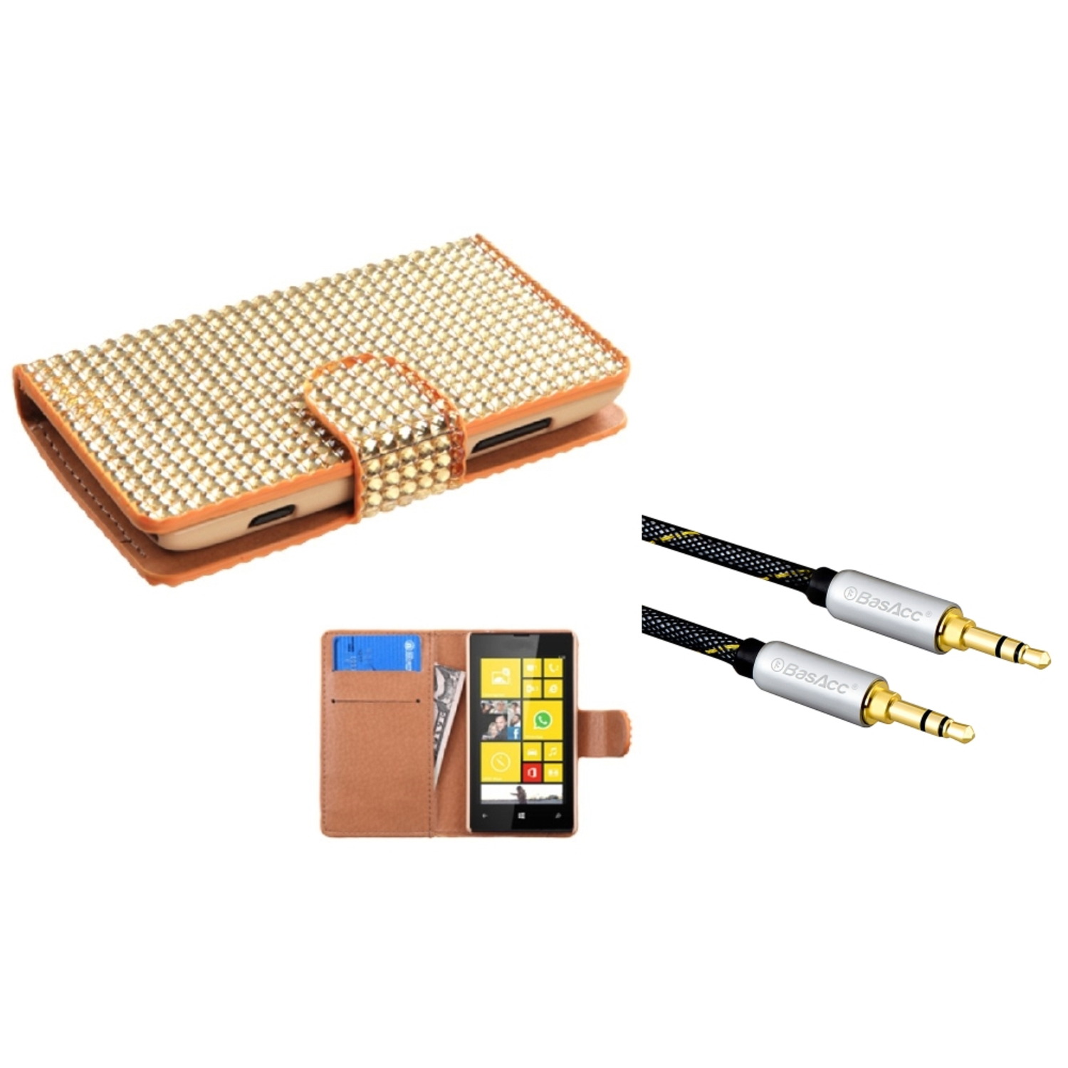Insten Gold Diamonds Flip Book Wallet Card Slot Case Cover For Nokia Lumia 520 (with 3.5mm Universal Audio Cable M/M)