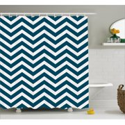 Navy Shower Curtain Zigzag Chevron Geometrical Design Lines Sea Waves Inspired Decor Art Print