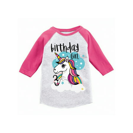 Awkward Styles Birthday Girl Toddler Raglan Unicorn Jersey Shirt 3rd Birthday Unicorn Gifts for 3 Year Old Girl Cute Rainbow Unicorn Outfit 3rd Birthday Party for Girls Unicorn Birthday Party (Christmas Gifts For 3 Year Old Girl)