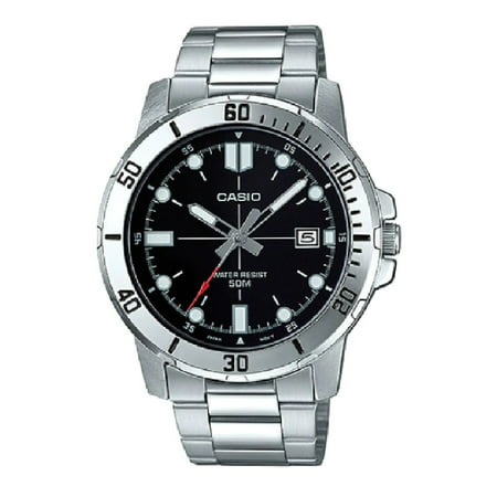 Mens Analog Stainless Steel Band and Case Silver Black Dial 50-meter Water Resistance Watch MTP-VD01D-1EVUDF