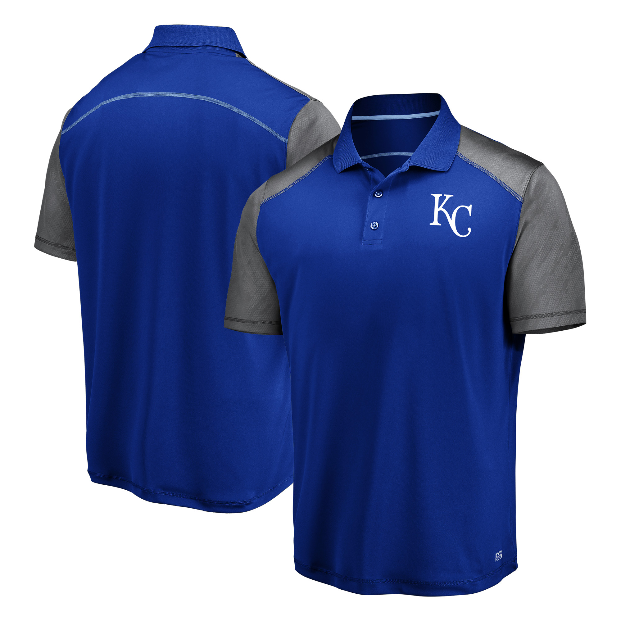 Men's Majestic Royal/Gray Kansas City Royals Cool Base Polo