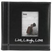 "Embroidered Stitched Leatherette Photo Album 9""X9""-Live, Laugh & Love - Black"