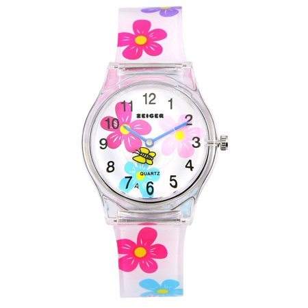 Zeiger Children Mini Quartz Wrist Watch Timepiece EasyRead Flower Watch For - Halloween Makeup For Kids Witch