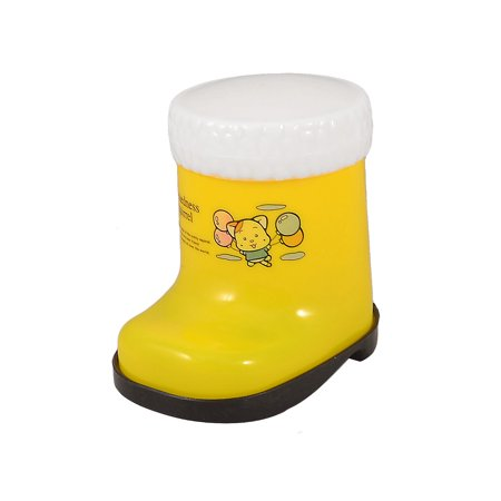 Unique Bargains Yellow Lovely Boot Plastic Toothpick Holder w White Case