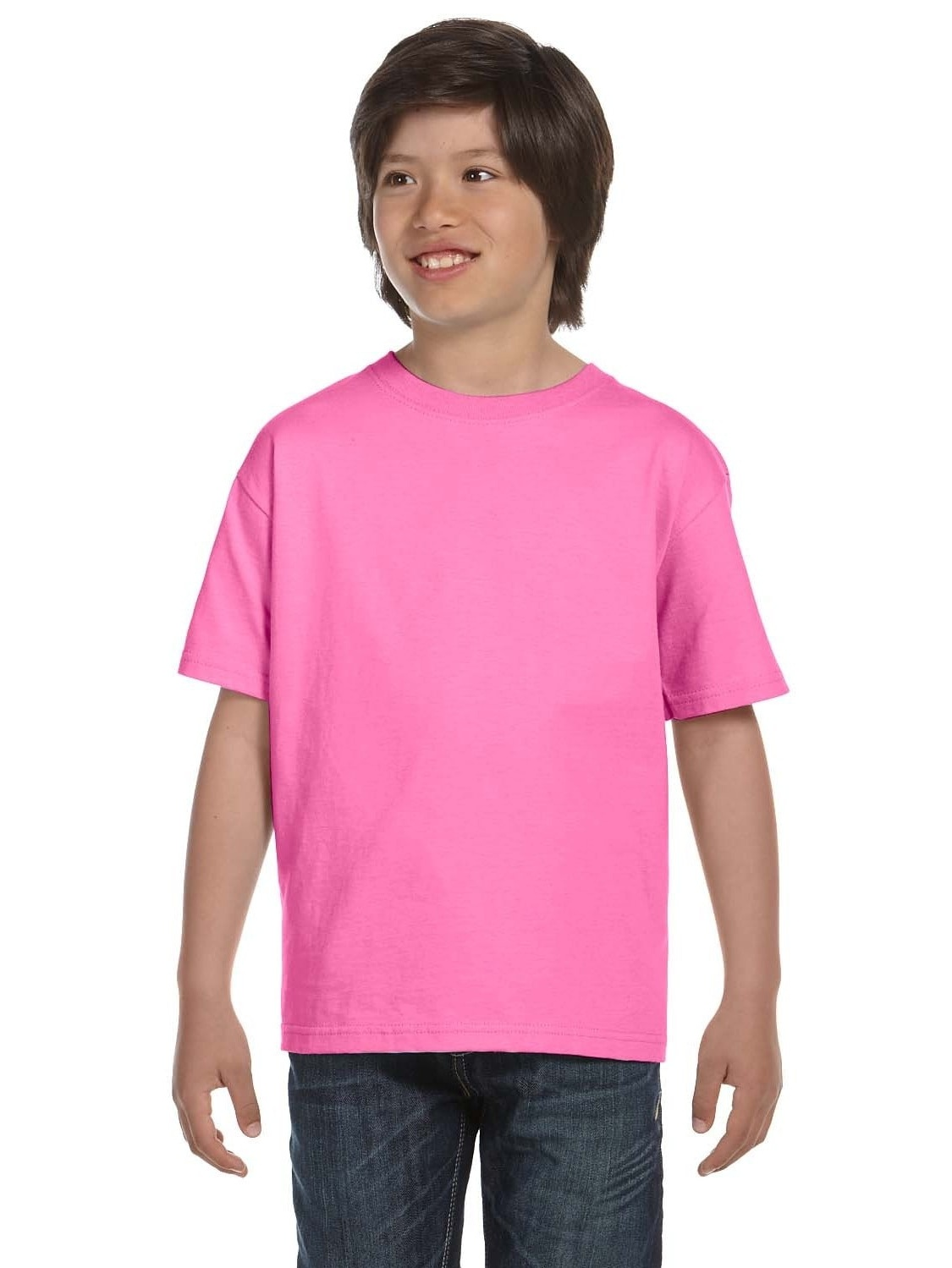 Hanes Beefy-T Boys' T-Shirt Pink