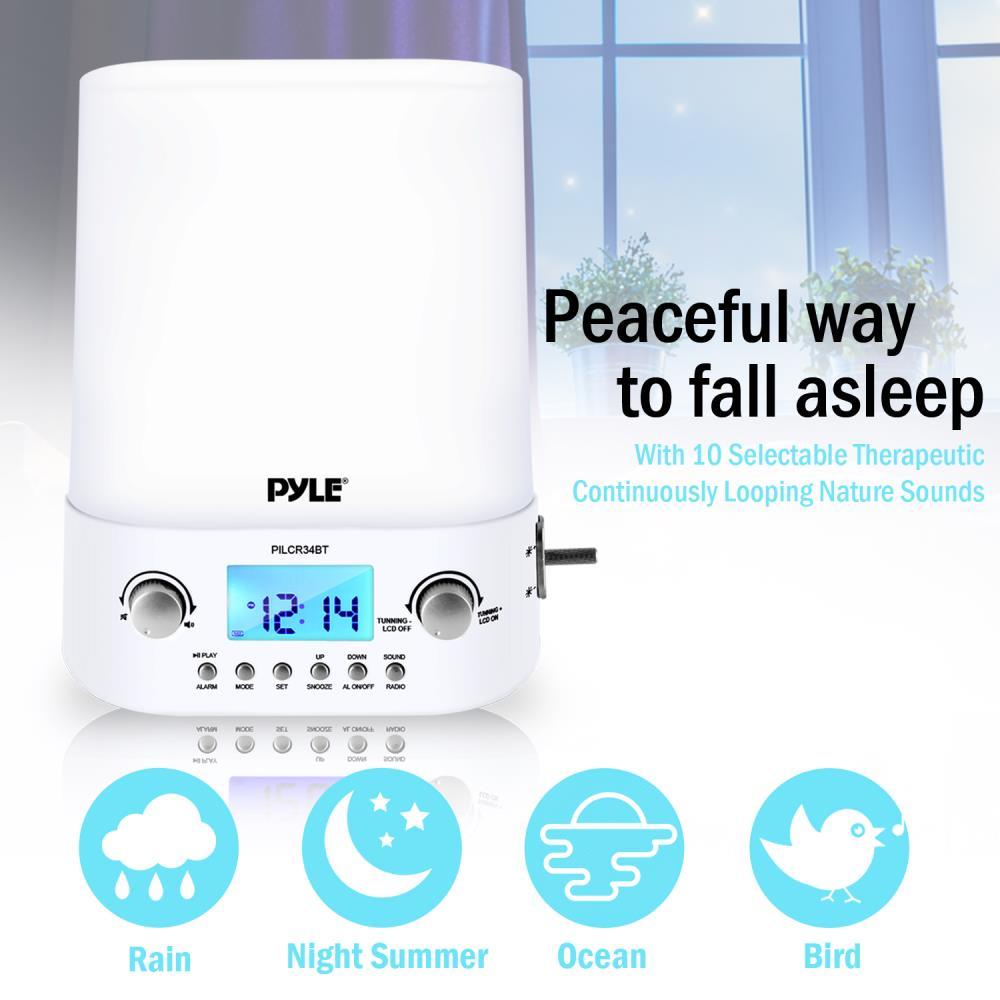 Pyle Pilcr34bt Therapy Sound Machine Clock Radio With
