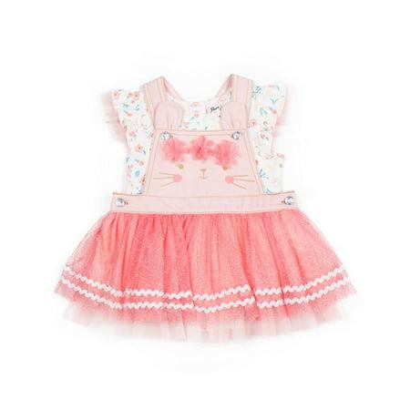 Bunny Girl Set (Short Sleeve Bunny Print T-shirt & Glitter Twill Skirtall, 2pc Outfit Set (Baby Girls & Toddler)