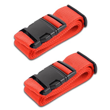 HeroFiber Red Luggage Belts Suitcase Straps Adjustable and Durable, Travel Case Accessories, 2