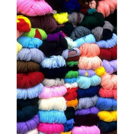 Peruvian Wool (Wool and Fabric Yarn in Town, Cuzco, Peru Print Wall Art By Bill Bachmann )