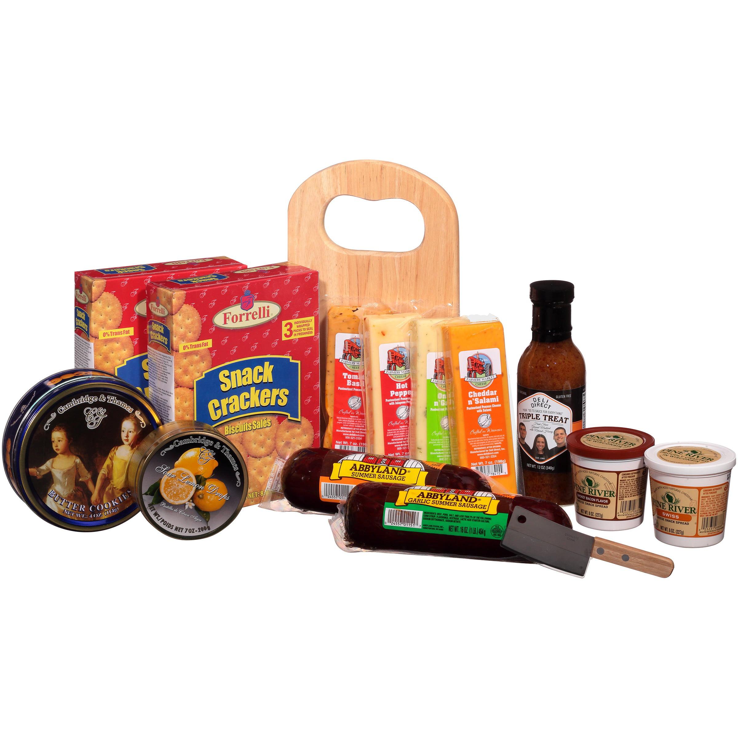 Deli Direct Wisconsin Cheese & Sausage Large Gift Basket 14 pc Basket - Walmart.com