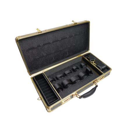 Forster Case Trimmer - Clipper Trimmer Organizer Black/Gold Frame Barber Case with Lock BB-530