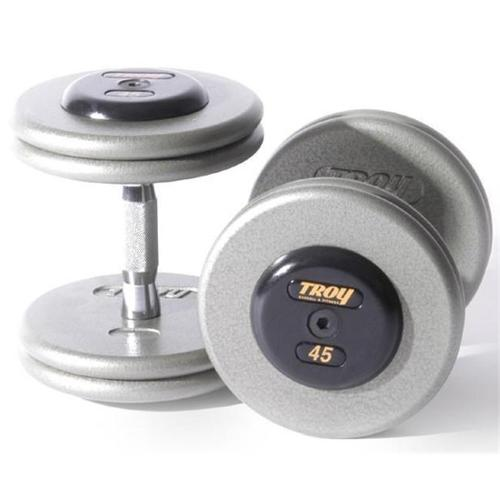 Troy Barbell HFDC-085R Pro-Style Fix Dumbbells With Gray Plates And Rubber End Cap - 85 Pounds - Sold as Pairs