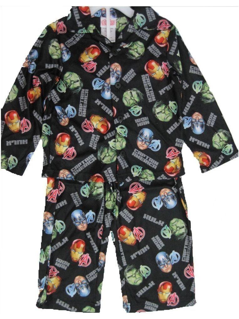 Boys Black Superheroes Printed Long Sleeved 2 Pc Pajama Set 8-10