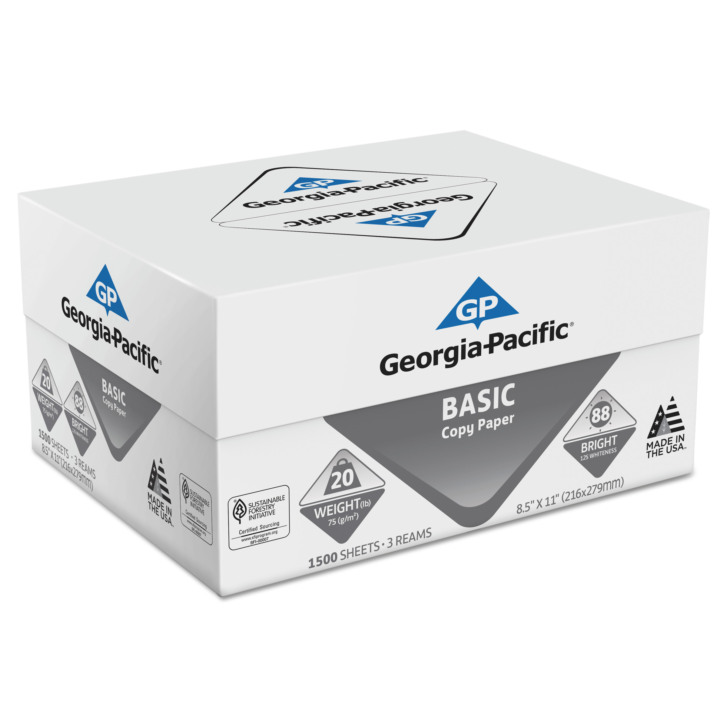 Georgia Pacific Basic Copy Paper, 8 1/2 x 11, 88 Bright, White, 1500 Sheets/Carton
